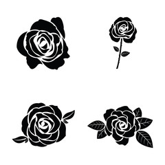Black silhouette of rose set