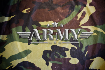 Army sign with Military Camouflage texture background
