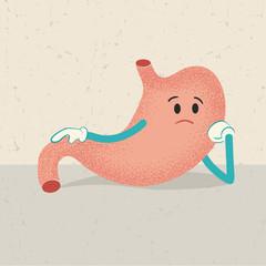 retro cartoon of an unhappy unhealthy human stomach
