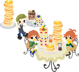 The gluttonous couple who stuffs its mouth with a large quantity of pancakes in the cafe