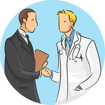 Man Doctor Shaking Hands Pharmaceutical Rep