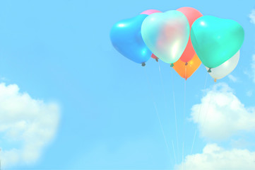 The soft focus colorful heart-shaped balloons with blue sky background in vintage style, concept of love in summer and valentine, wedding, selective focus with the white balloon in the front