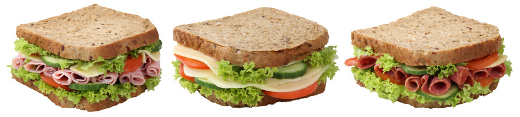 Collage Sandwiches Toasts zum Frühstück mit Salami Schinken K
