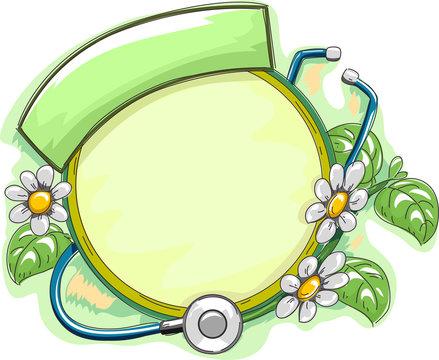 Alternative Medicine Frame Herbs Stethoscope