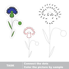Cornflower to be traced. Vector numbers game.