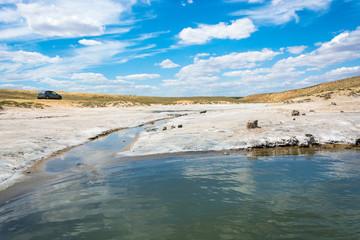In the vicinity of the salt lake Baskunchak.