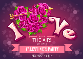 Invitation card with flowers to party on Valentines Day