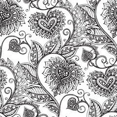 Vector seamless pattern with hand drawn flowers