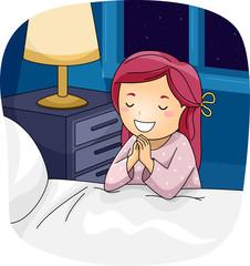 Kid Girl Pray Bed