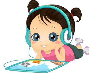Kid Girl Read Story Book Audio