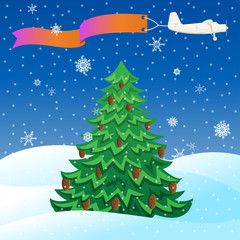 Flying vintage plane with banner and evergreen tree.