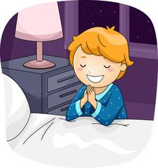 Kid Boy Pray Bed