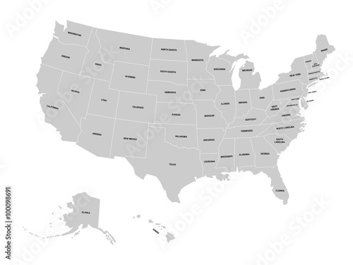 Vector map of United States of America with state names\