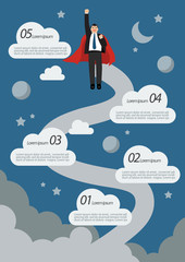 Businessman Superhero Flying Infographic