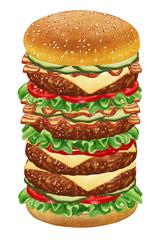 Mega Cheeseburger. Hand-drawn illustration, digitally colored.