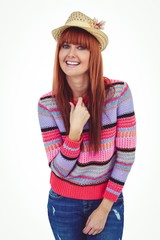 Attractive hipster woman wearing hat