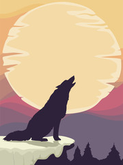Wolf Silhouette Moon