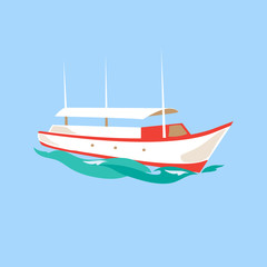 Leisure Ship on the Water. Vector Illustration