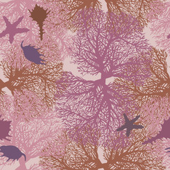 Underwater seamless pattern with coral and seashells.
