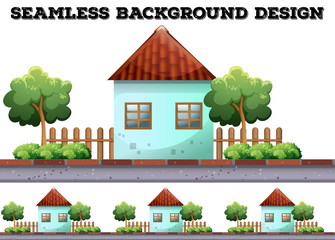Seamless background with house on the road