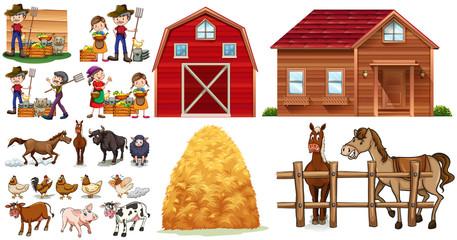 Farmers and animals on the farm