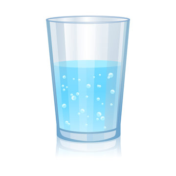 Glass with water isolated vector illustration