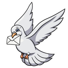 White pigeon is carrying letter 2