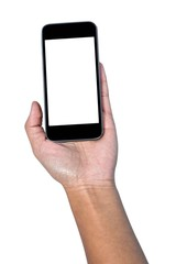 Cropped image of businesswoman holding smartphone
