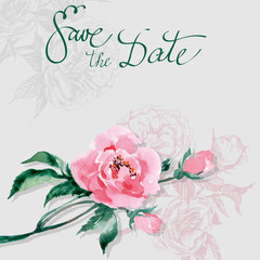 Save The Date with watercolor wild rose. Wedding Invitation Card (Use for Boarding Pass, invitations, thank you card.) Template Vector.