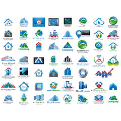 Set of blue houses icon