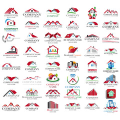 Set of red houses icon