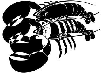 Deux homards, art abstrait en noir et blanc
