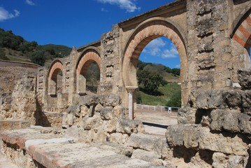 View through Moorish arches ruins, Medina Azahara.
