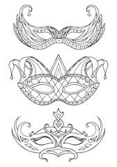 Set of hand-drawn doodle face masks. Festival Mardi Gras