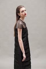 Beautiful brunette young model posing in the studio wearing fashion dress.
