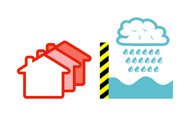 Flat vector image of a flood barrier holding back a rain cloud and water, protecting houses