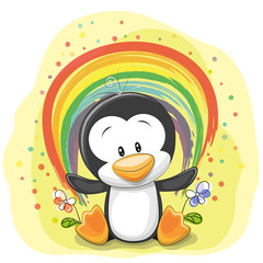 Penguin with rainbow