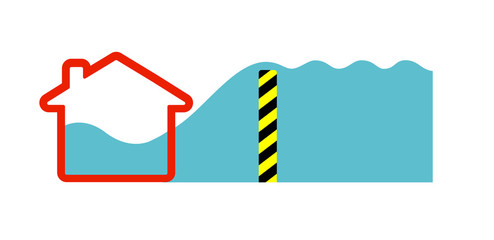 Flat vector image of water flowing over a flood barrier into a house