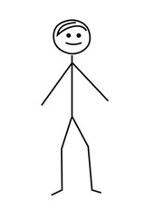 Drawing of stickman on white background.