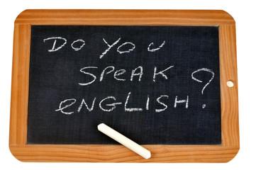 Ardoise demandant si on parle anglais