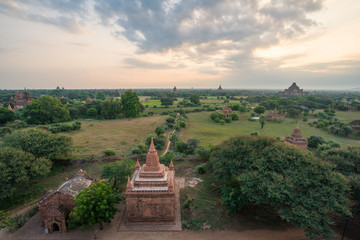 Bagan ancient city view from Shwe-sandaw pagoda, Mandalay region, Myanmar.