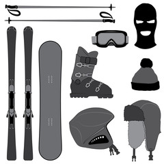 Ski Equipment Silhouettes Set, Isolated on White Background. Vector Image