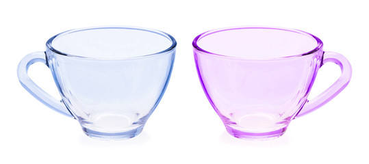Glass tea cup on white background