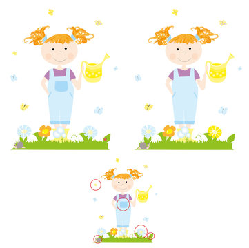 Find 5 differences : a child/ little girl with a yellow watering can and flowers in the garden - spring game with solution