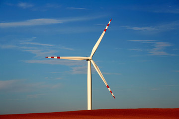 Single windmill at dusk