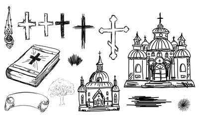 Hand drawn religion set in vector. Church, cross and bible in sk