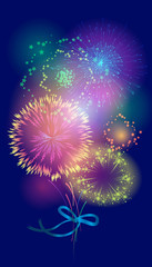 Vector bouquet of fireworks