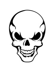 Angry skull symbol, vector