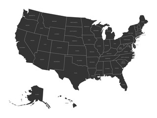 Map of USA with state names