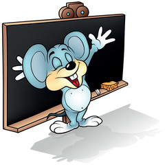 Mouse before Blackboard - Colored Cartoon Illustration, Vector